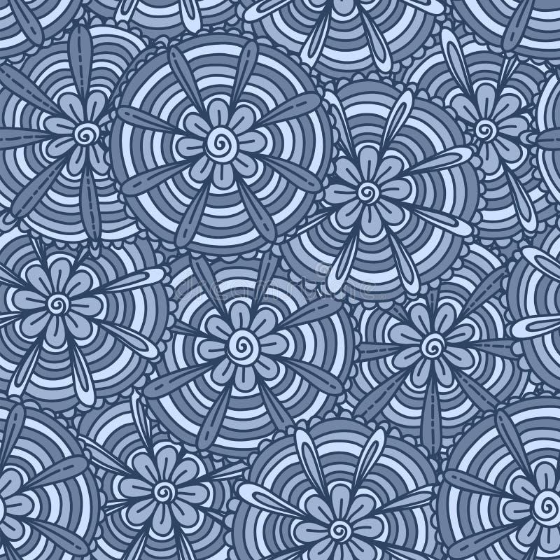 Fleurs bleues avec des bandes illustration de vecteur