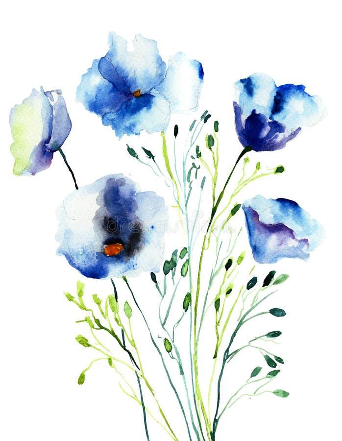 Fleurs bleues décoratives illustration libre de droits