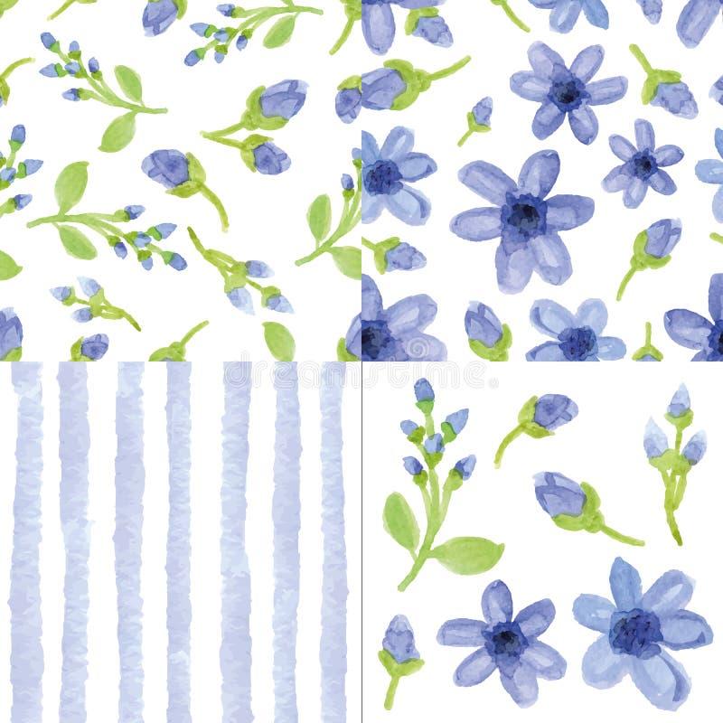 Fleurs bleues d'aquarelle, modèle sans couture de bandes Ensemble mignon illustration de vecteur