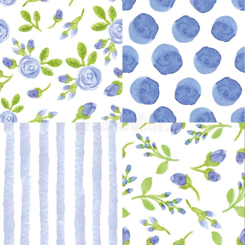 Fleurs bleues d'aquarelle, modèle sans couture de point de polka de bandes illustration libre de droits