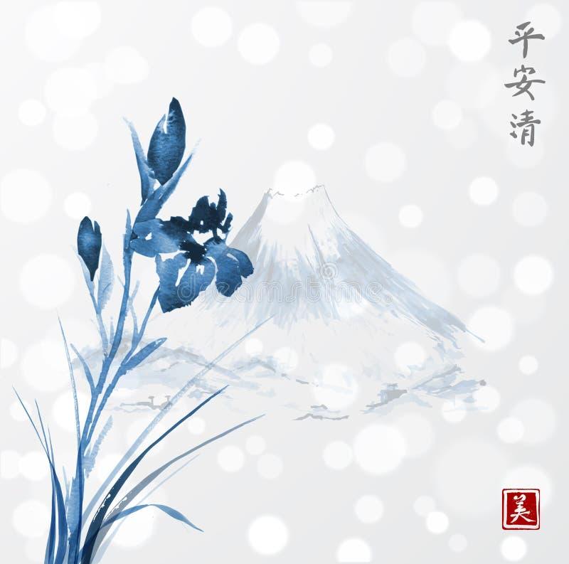 Fleurs bleues d'iris et montagnes de Fujiyama tirées par la main avec l'encre dans le style asiatique sur le fond rougeoyant blan illustration stock