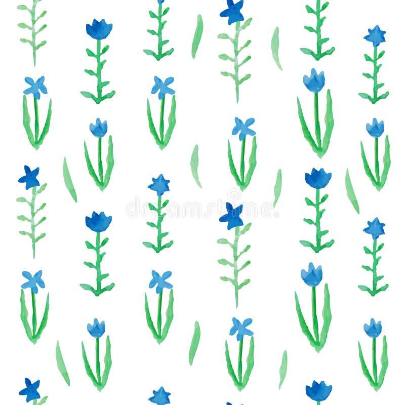 Fleurs bleues de modèle sans couture floral avec les feuilles vertes illustration stock