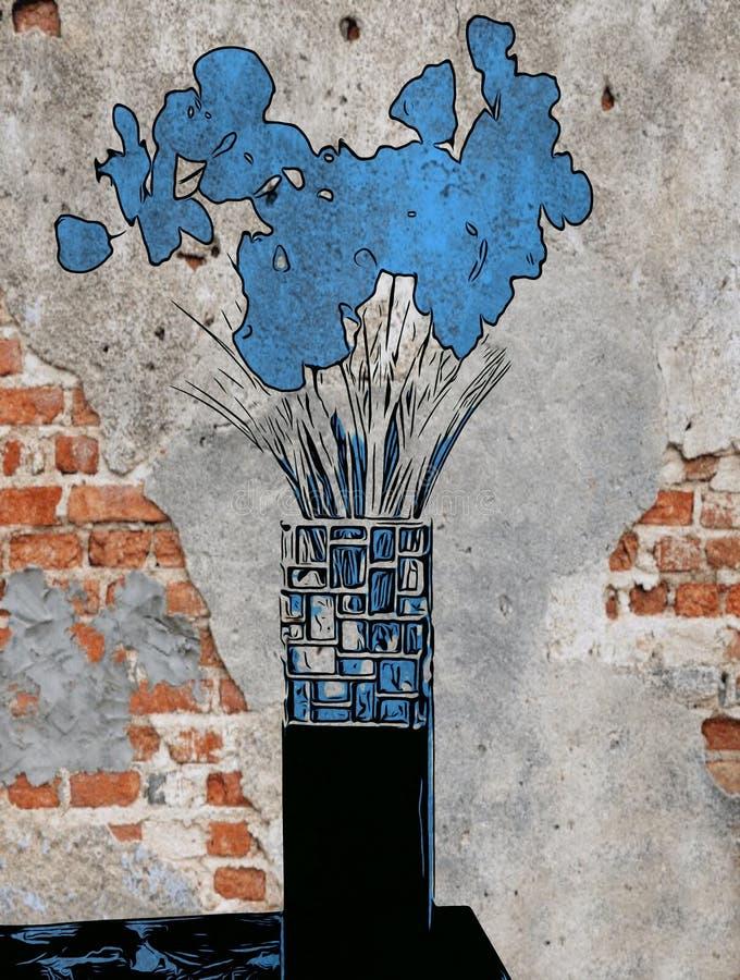 Fleurs Bleues Sur Briques photos stock