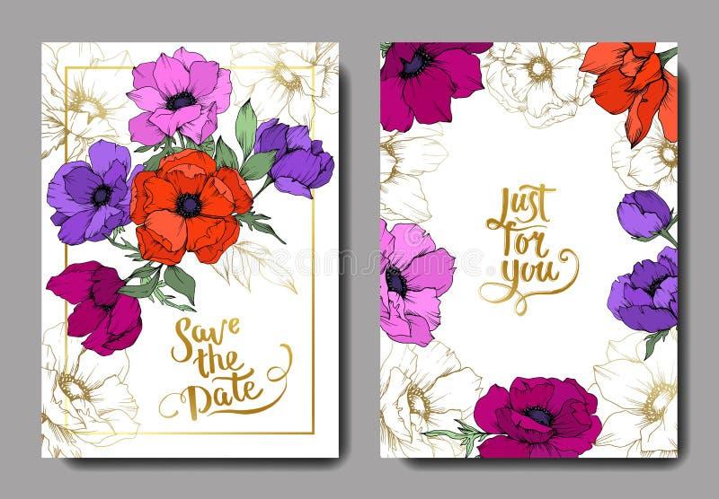 Fleurs botaniques florales d'an?mone Art grav? noir et blanc d'encre ?pouser la fronti?re d?corative florale de carte de fond illustration libre de droits