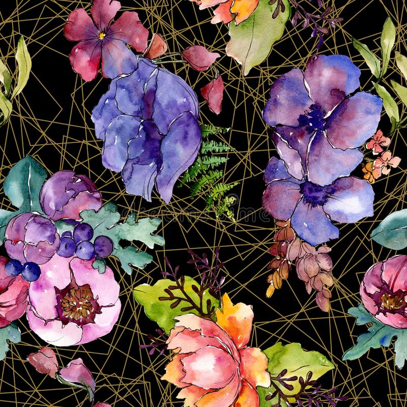 Fleurs botaniques florales de bouquet pourpre bleu Ensemble d'illustration de fond d'aquarelle Mod?le sans couture de fond image libre de droits