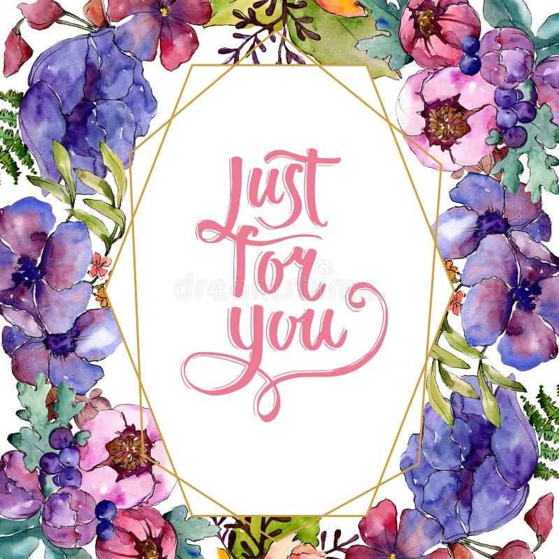 Fleurs botaniques florales de bouquet pourpre bleu Ensemble d'illustration de fond d'aquarelle Place d'ornement de fronti?re de v photographie stock libre de droits