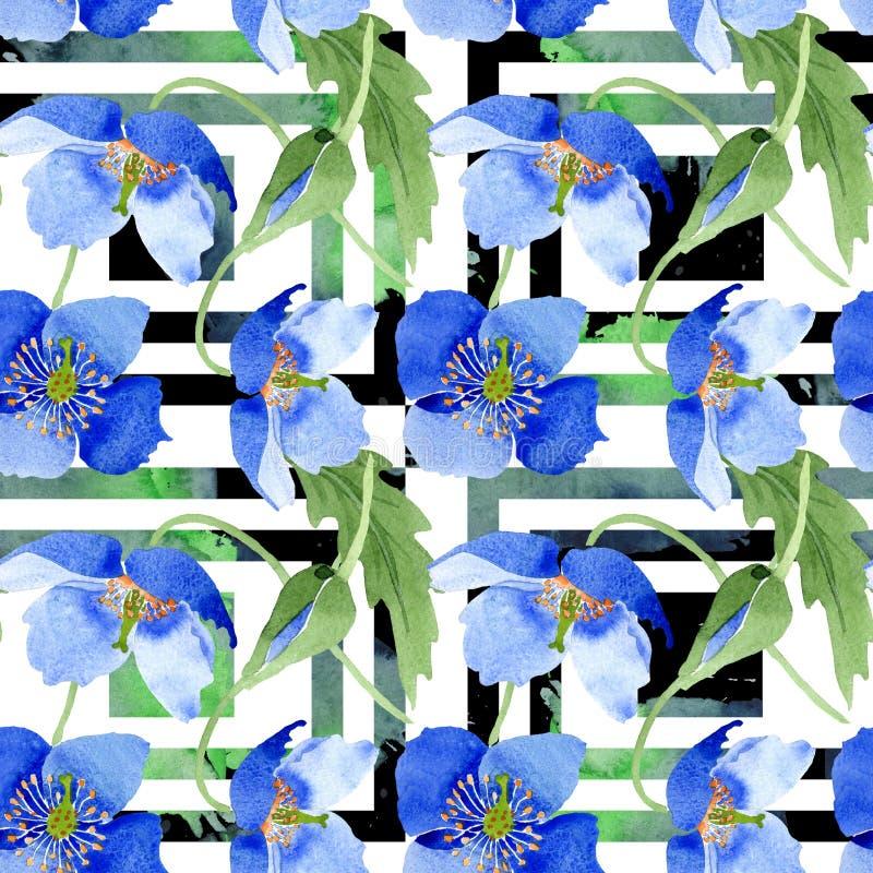 Fleurs botaniques florales de pavot bleu Ensemble d'illustration d'aquarelle Mod?le sans couture de fond illustration stock