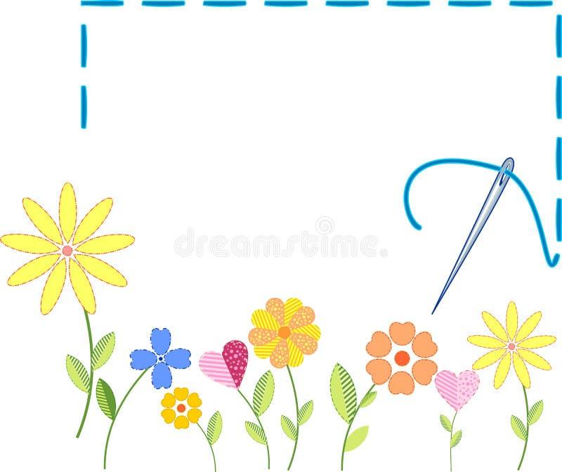 Fleurs brodées illustration de vecteur