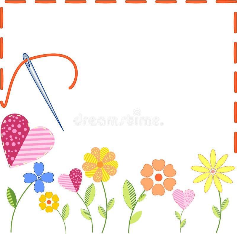 Fleurs brodées illustration libre de droits