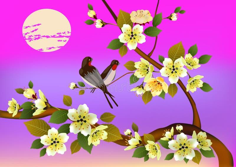 Fleurs, carte postale Le jour de Valentine illustration libre de droits