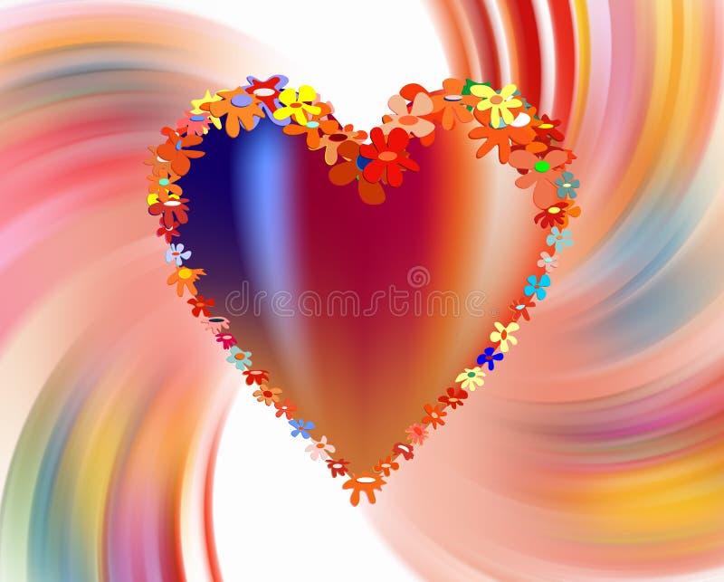 Fleurs, coeur et amour colorés sur le fond abstrait vif illustration libre de droits