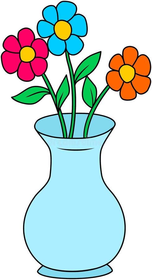Fleurs colorées dans un vase illustration de vecteur