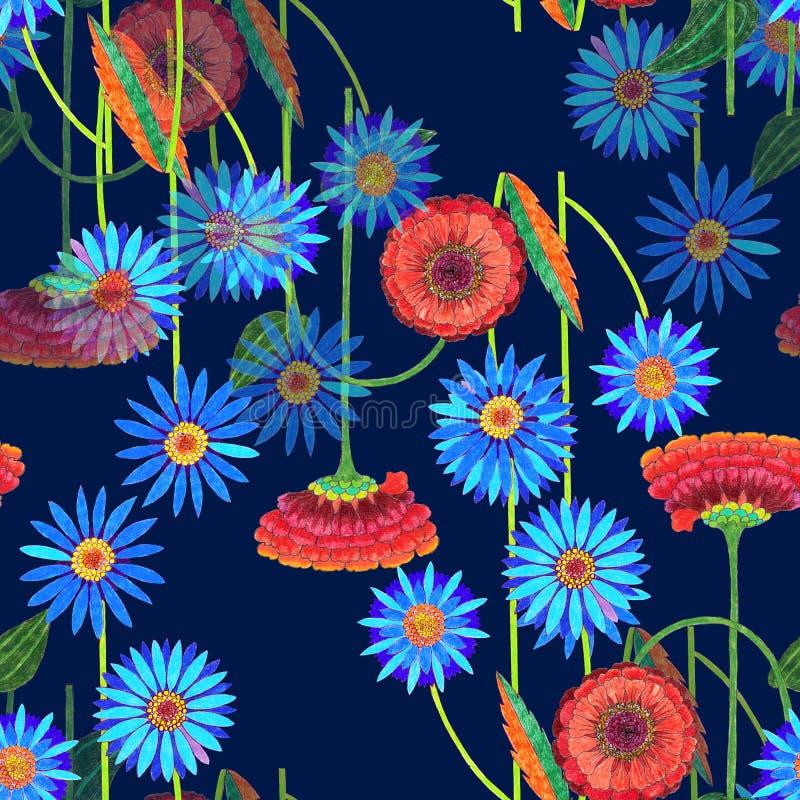 Fleurs colorées de crayon de couleur Modèle sans couture floral mystique sur un fond bleu-foncé illustration de vecteur