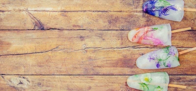 Fleurs congelées en glaçons et crème glacée sur un bâton images stock