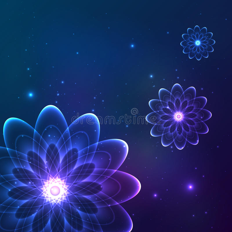 Fleurs cosmiques de vecteur brillant bleu illustration stock