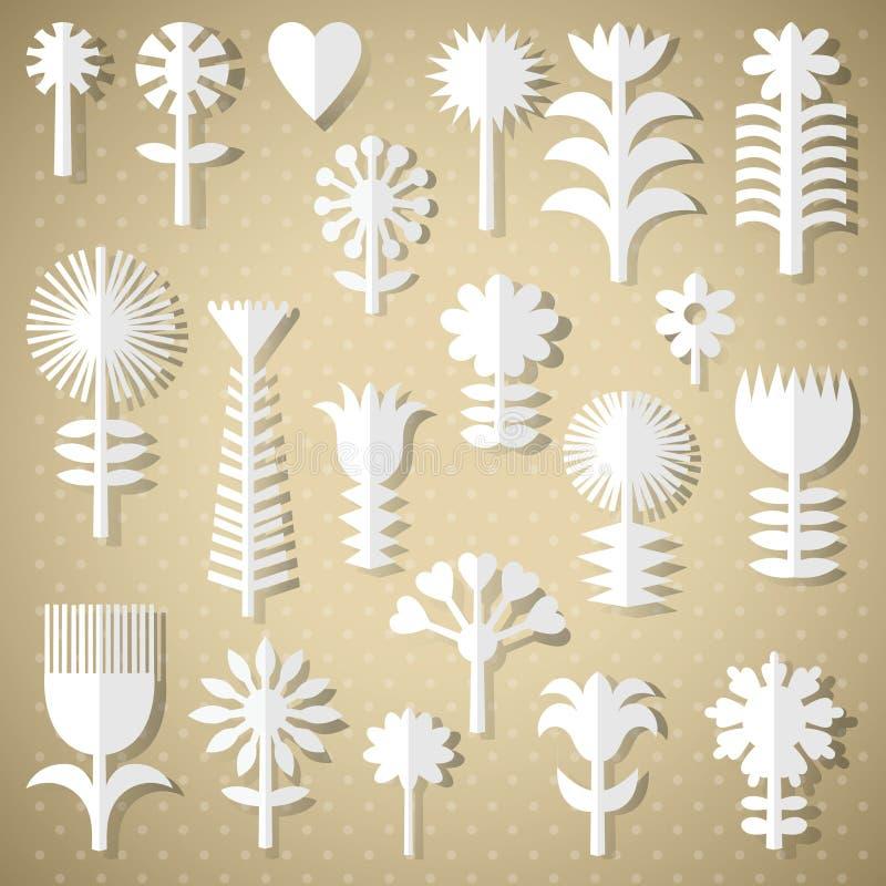 Fleurs coupées du livre blanc illustration de vecteur