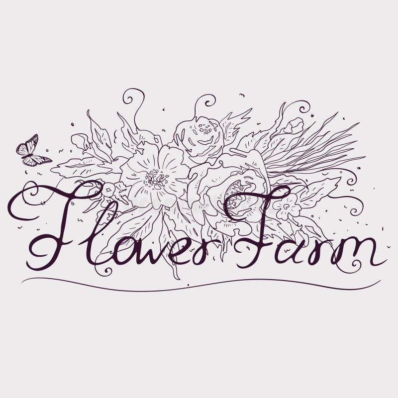 Fleurs croissantes d'une ferme Labels, autocollants, logos et insignes typographiques Illustration de vecteur illustration libre de droits
