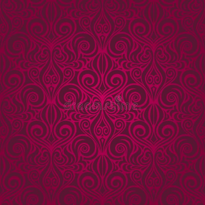 Fleurs décoratives rouge foncé, fond qu'on peut répéter de conception de modèle décoratif fleuri floral de vecteur illustration de vecteur