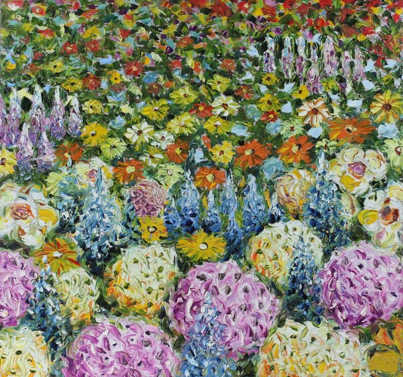Fleurs d'été de pré, peinture à l'huile photographie stock libre de droits