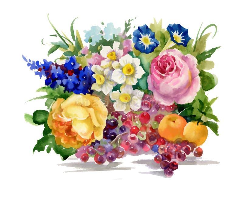 Fleurs d'été et illustration mûre d'aquarelle de fruits illustration stock