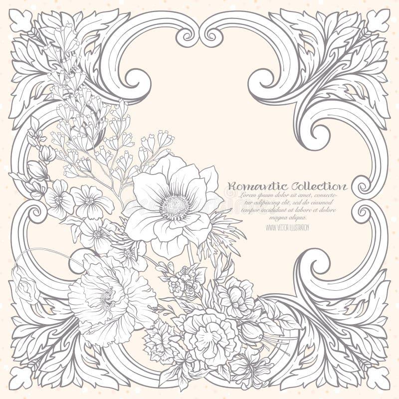 Fleurs d'été : pavot, jonquille, anémone, violette, dans s botanique illustration stock