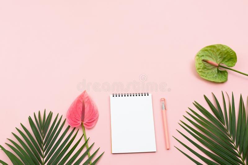 Fleurs d'anthure, palmettes, bloc-notes et un stylo photos libres de droits