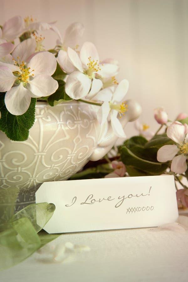 Fleurs d'Apple et étiquette de cadeau photos stock