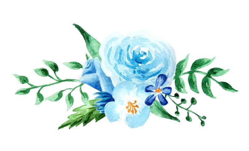 Fleurs d'aquarelle composition colorée peinte à la main Bouquet sur background illustration libre de droits