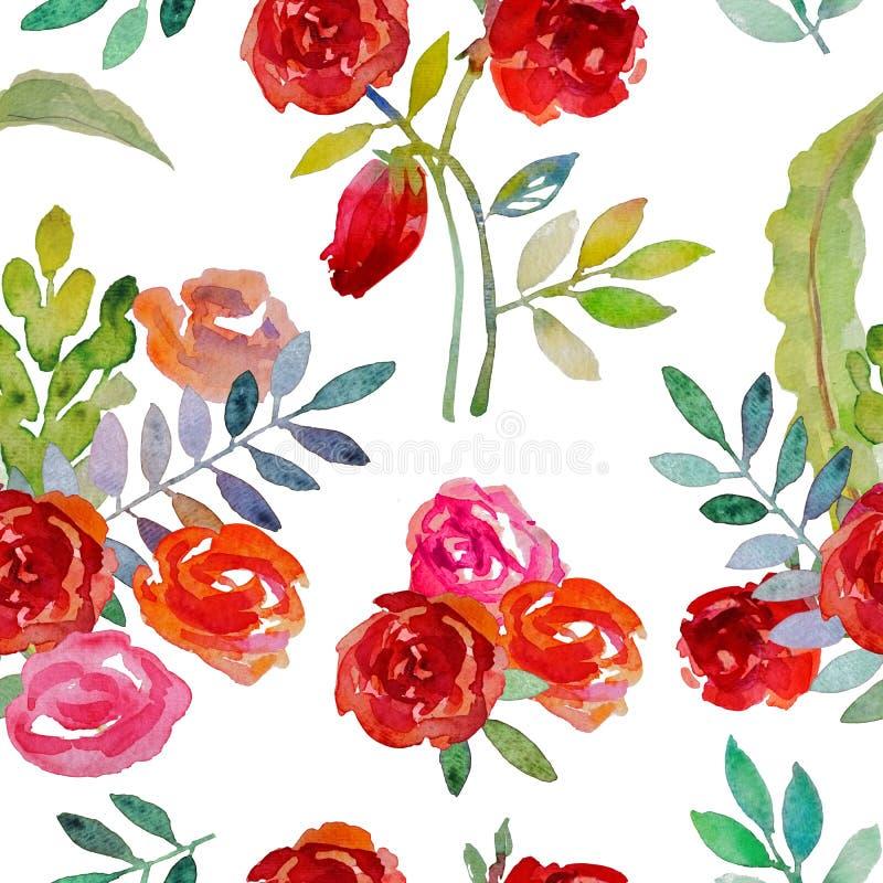 Fleurs d'aquarelle Configuration sans joint avec les roses rouges illustration stock