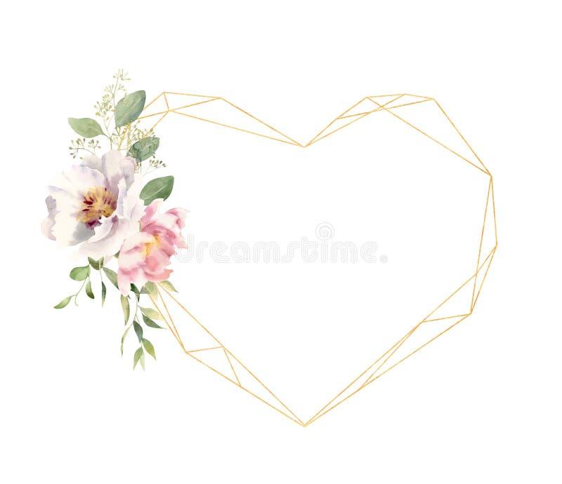 Fleurs d'aquarelle décorant le cadre en forme de coeur d'or illustration libre de droits