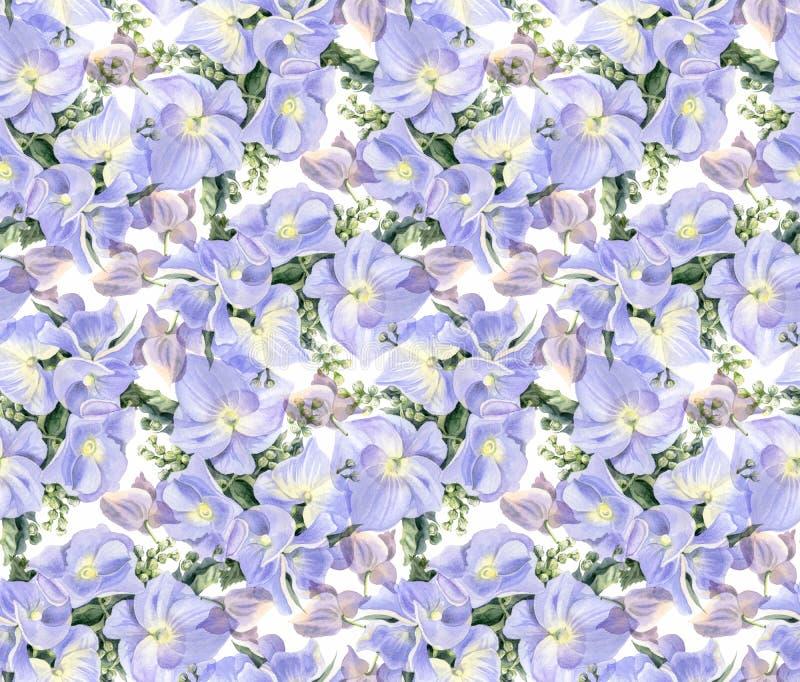 Fleurs d'aquarelle Hortensias lilas illustration libre de droits
