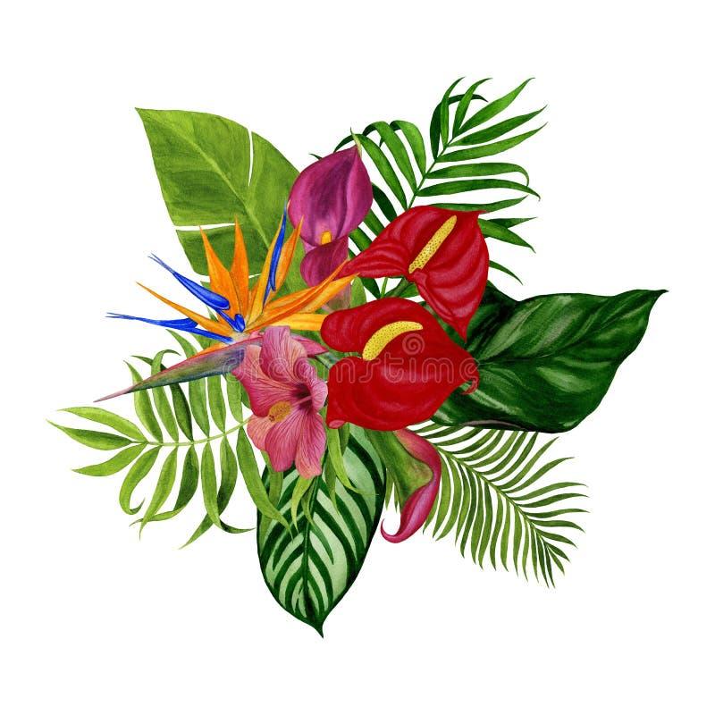Fleurs d'aquarelle, invitation, carte postale - illustration photographie stock
