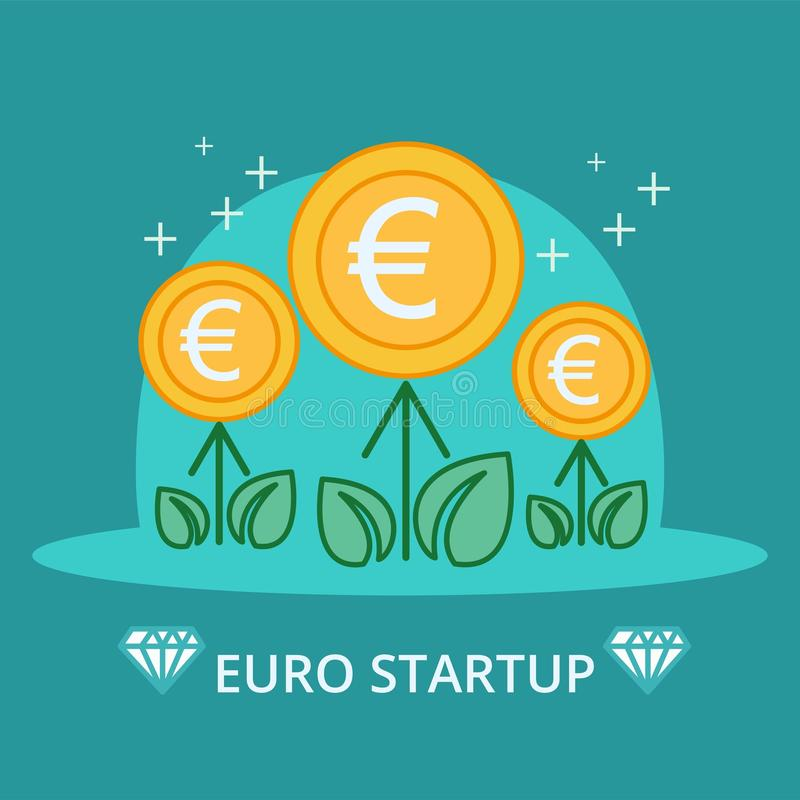 Fleurs d'argent d'euros réglées Usines décoratives sur un fond bleu Illustration de vecteur illustration libre de droits