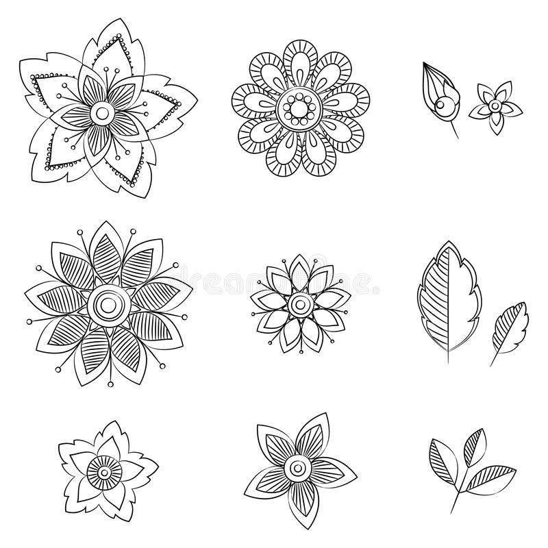 Fleurs d'art de griffonnage Éléments de fines herbes tirés par la main de conception illustration stock