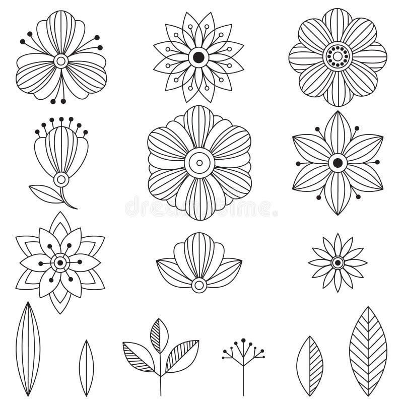 Fleurs d'art de griffonnage Éléments de fines herbes tirés par la main de conception illustration libre de droits