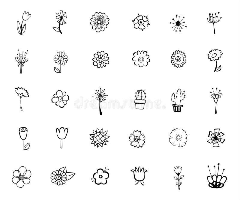 Fleurs d?coratives de vintage r?gl?es main d'?l?ments dessin?e par conception illustration stock