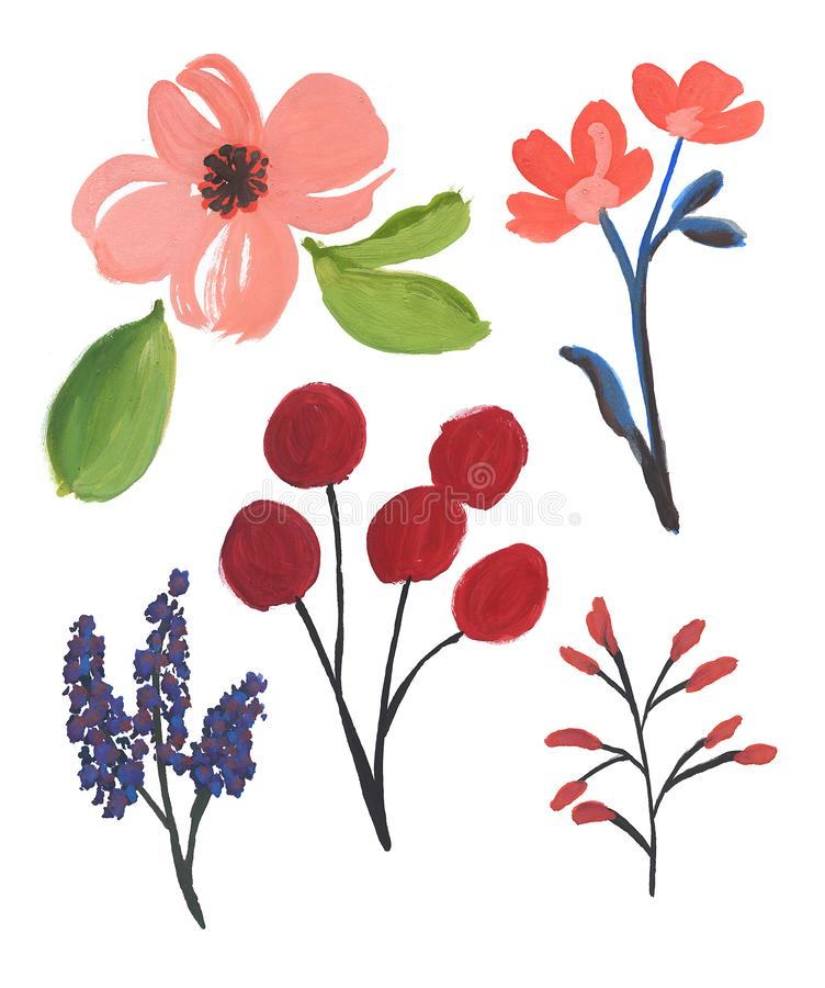 Fleurs d'eau Ensemble de fleurs abstraites illustration stock