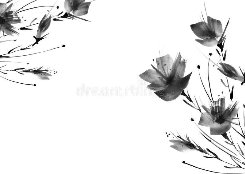 Fleurs d'Ild, champ, jardin - lis, pavots de silhouette, roses illustration libre de droits