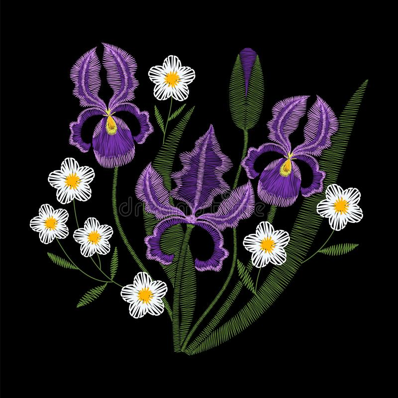 Fleurs d'iris avec le vecteur de broderie de camomille illustration libre de droits
