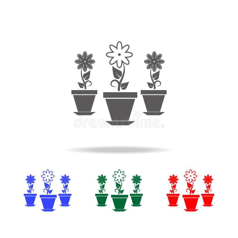 fleurs dans l'icône de pots Éléments de jardin dans les icônes colorées multi Icône de la meilleure qualité de conception graphiq photo stock