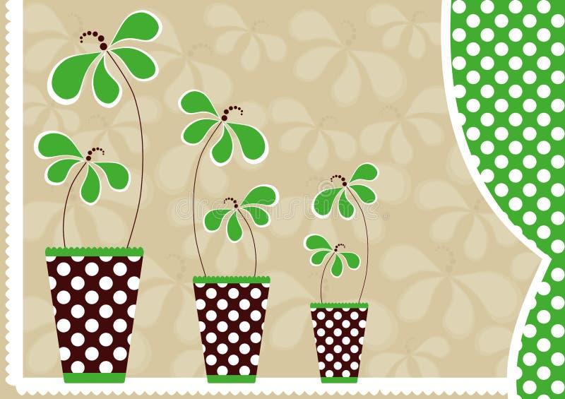 Fleurs dans la carte du jour de mère de vases illustration stock