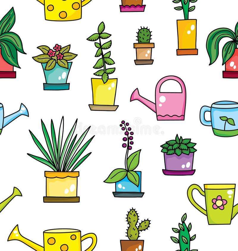 Fleurs dans le modèle sans couture de pots et d'arrosoirs Fond de vecteur illustration stock
