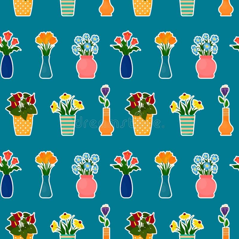 Fleurs dans le modèle sans couture de pots et de vases illustration de vecteur
