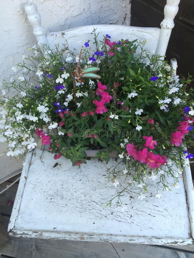 Fleurs dans le pot antique de Highchair images stock