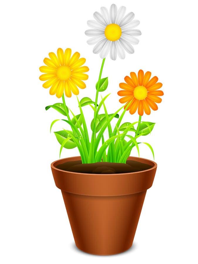Fleurs dans un bac illustration stock