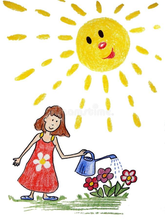 Fleurs de arrosage de fille avec la boîte de l'eau illustration de vecteur
