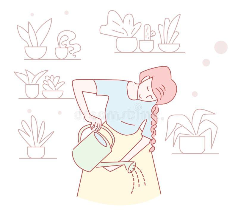 Fleurs de arrosage de fille, boîte d'arrosage, tirée par la main, fleuriste illustration de vecteur