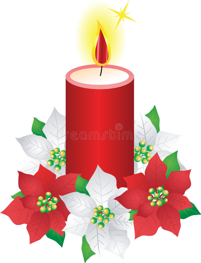 Fleurs de bougie et de poinsettia de Noël illustration de vecteur