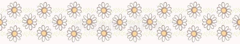 Fleurs de camomille de marguerite de vecteur Frontière sans couture tirée par la main de vecteur illustration de vecteur