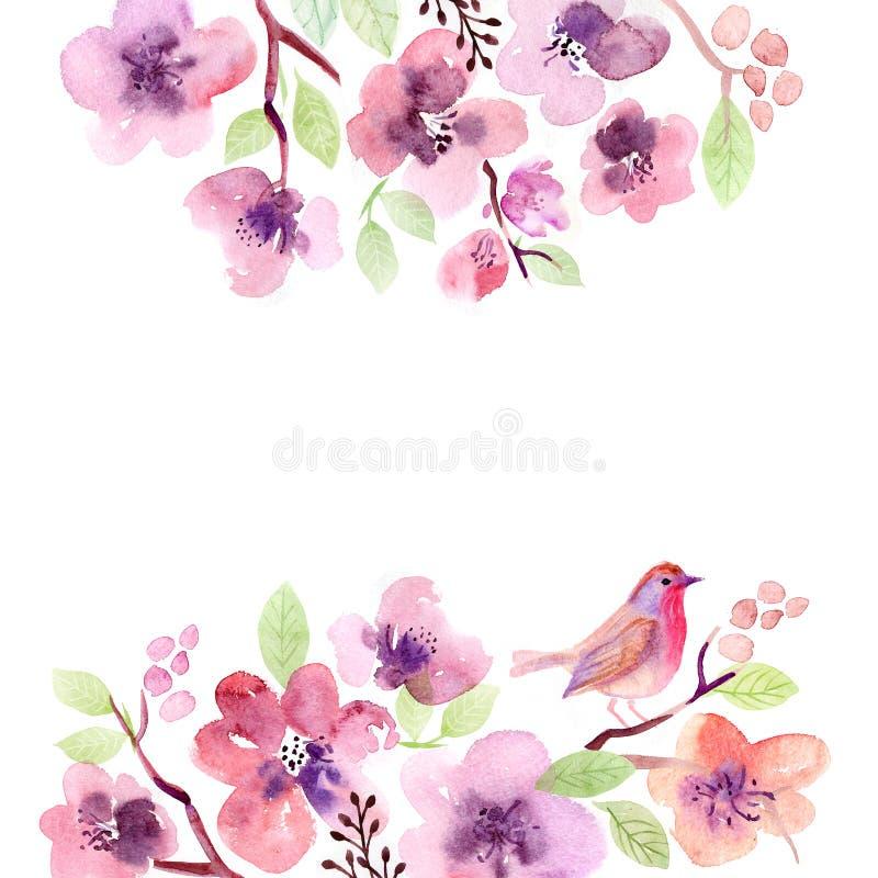 Fleurs de carte de voeux d'aquarelle handmade Fond de félicitations Carte de fleurs illustration libre de droits